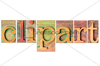 clipart - wood type collage