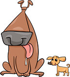 big and small dogs cartoon illustration