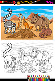 african mammals cartoon coloring book
