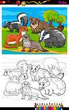 mustelids animals cartoon coloring book