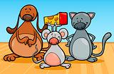 cute pets characters cartoon illustration