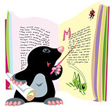 mole reading book