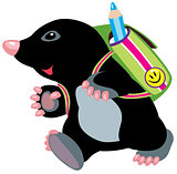 cartoon mole walking to school