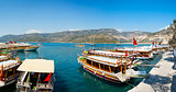 Turkish coast, yachts, panorama