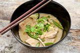 Thai green curry with chopsticks