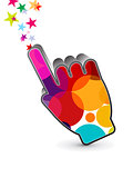 abstract colorful hand cursor icon