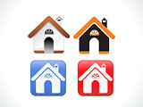 abstract multiple home icon set
