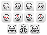Kawaii cute Halloween skull buttons set