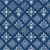 Indigo blue hand drawn seamless pattern, vector