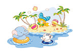 animals are playing on the beach