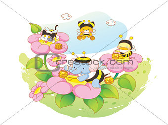 animals playing in the flower