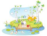 cartoon cat fishing in the river