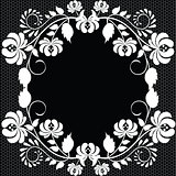 lace frame with roses on black background