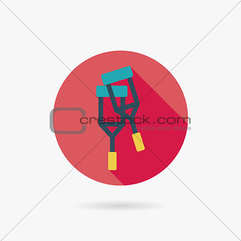 Flat Crutch style Icon with long shadows