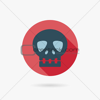 skull Flat style Icon with long shadows