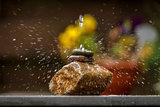 Water splashing on stones