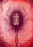 retro poster with a microphone and decorative elements