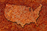 Rusted corroded metal map of the United States seamlessly tileab