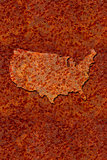 Rusted corroded metal map of the United States