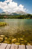 pond in mountains at summer