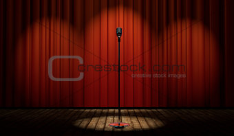 3d vintage microphone on stage with red curtain