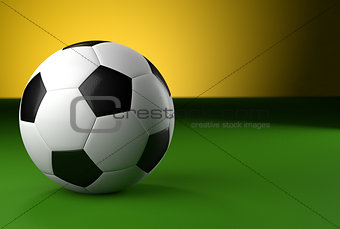 3d soccer ball on green background