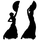 Two black silhouettes of female flamenco dancer