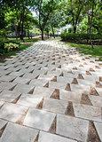 White tile pavement