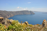 crater view on santorini island, greece