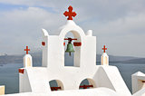 white church on greek santorini island, greece