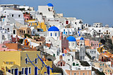 village of oia on greek santorini island, greece