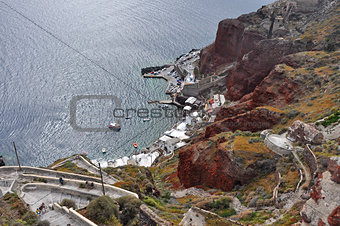 bay on volcanic greek island santorini, greece