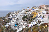 village of oia on greek santorini island, greece