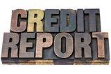 credit report in wood type