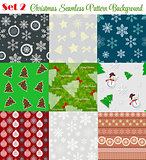 Winter Christmas New Year Seamless Pattern Set Vector Illustrati
