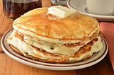 Buttermilk pancakes closeup