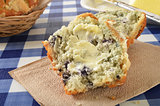 Buttered blueberry muffin