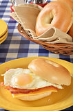 Ham egg and cheese sandwich on a bagel