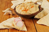 Hummus on pita bread