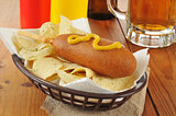 Corn dog and chips