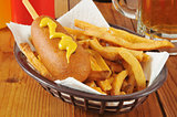Corn dog with fries