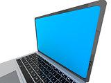 Modern glossy laptop on white.
