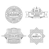 collection of retro monochrome outline vintage style labels and banners