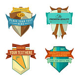 set of vector logo retro ribbon labels and vintage style shield banners