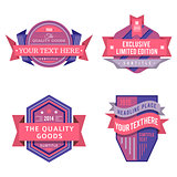 set of vector logo pink retro labels and vintage style banners