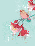 Red flowers and bird