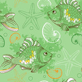 Seamless pattern with tropical fishes and shells
