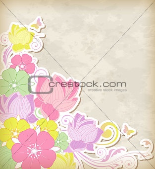 Background with pink and yellow flowers