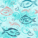 Pattern with tropical fishes
