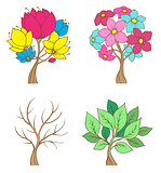 Set of decorative trees